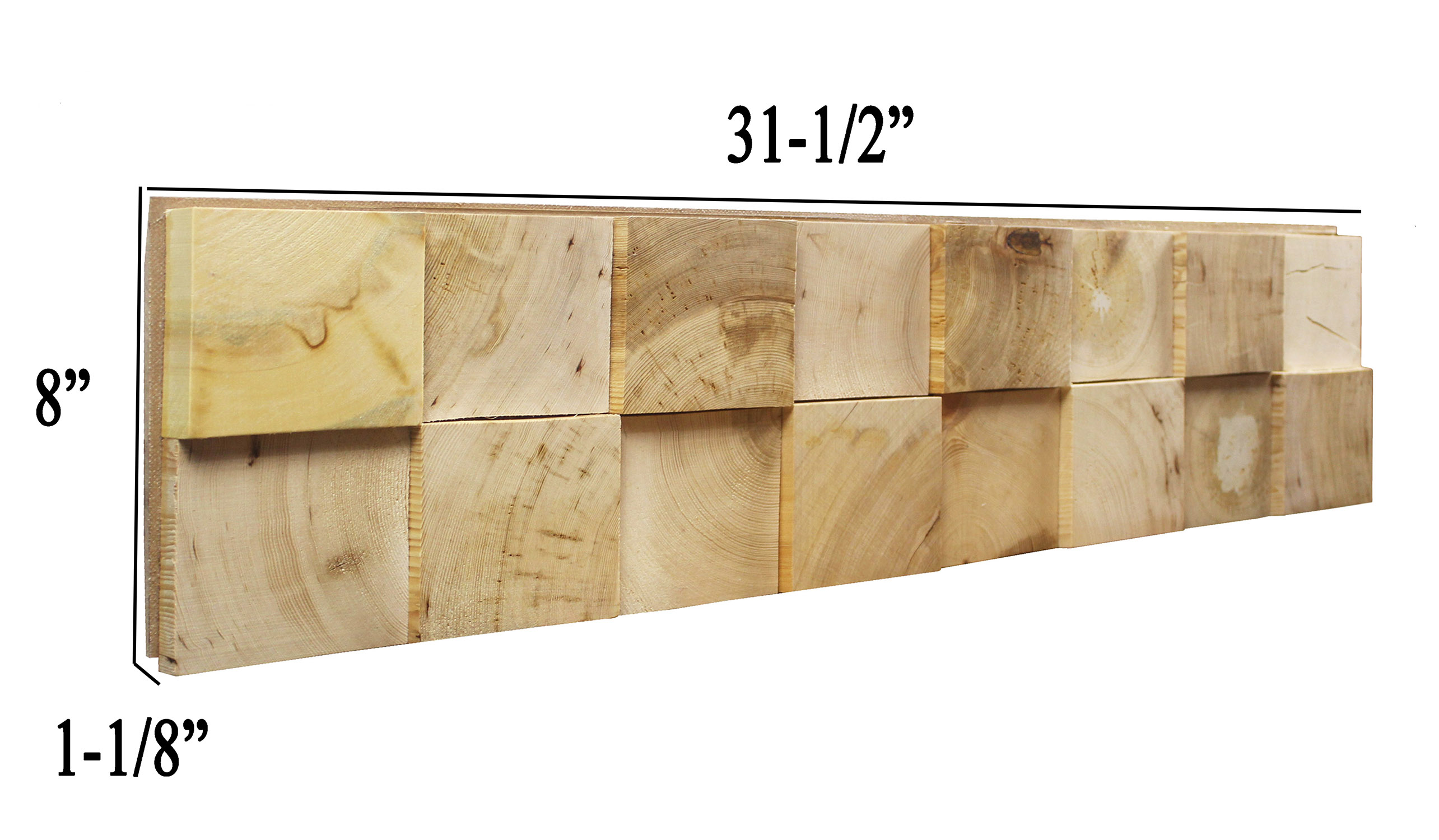 3D Reclaimed Square Nature Pine Natural Solid Wood Panels Decor 10.5 ...