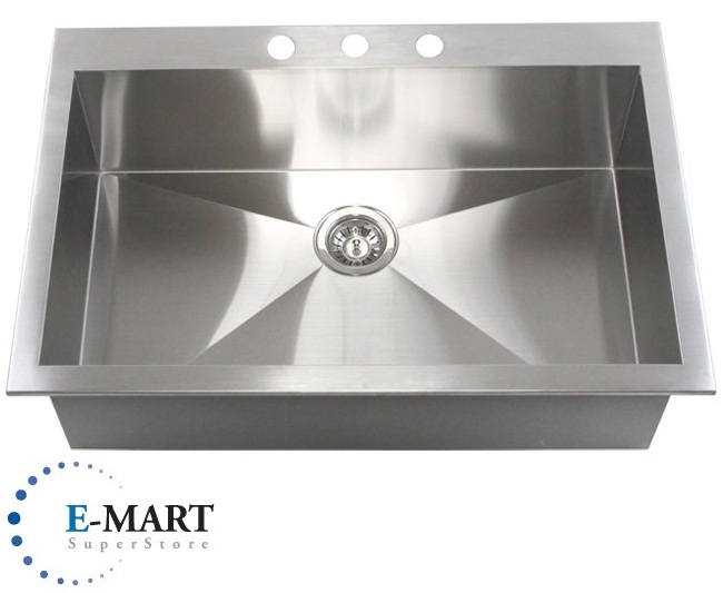 33 inch top mount drop in stainless steel single bowl for Best quality stainless steel kitchen sinks