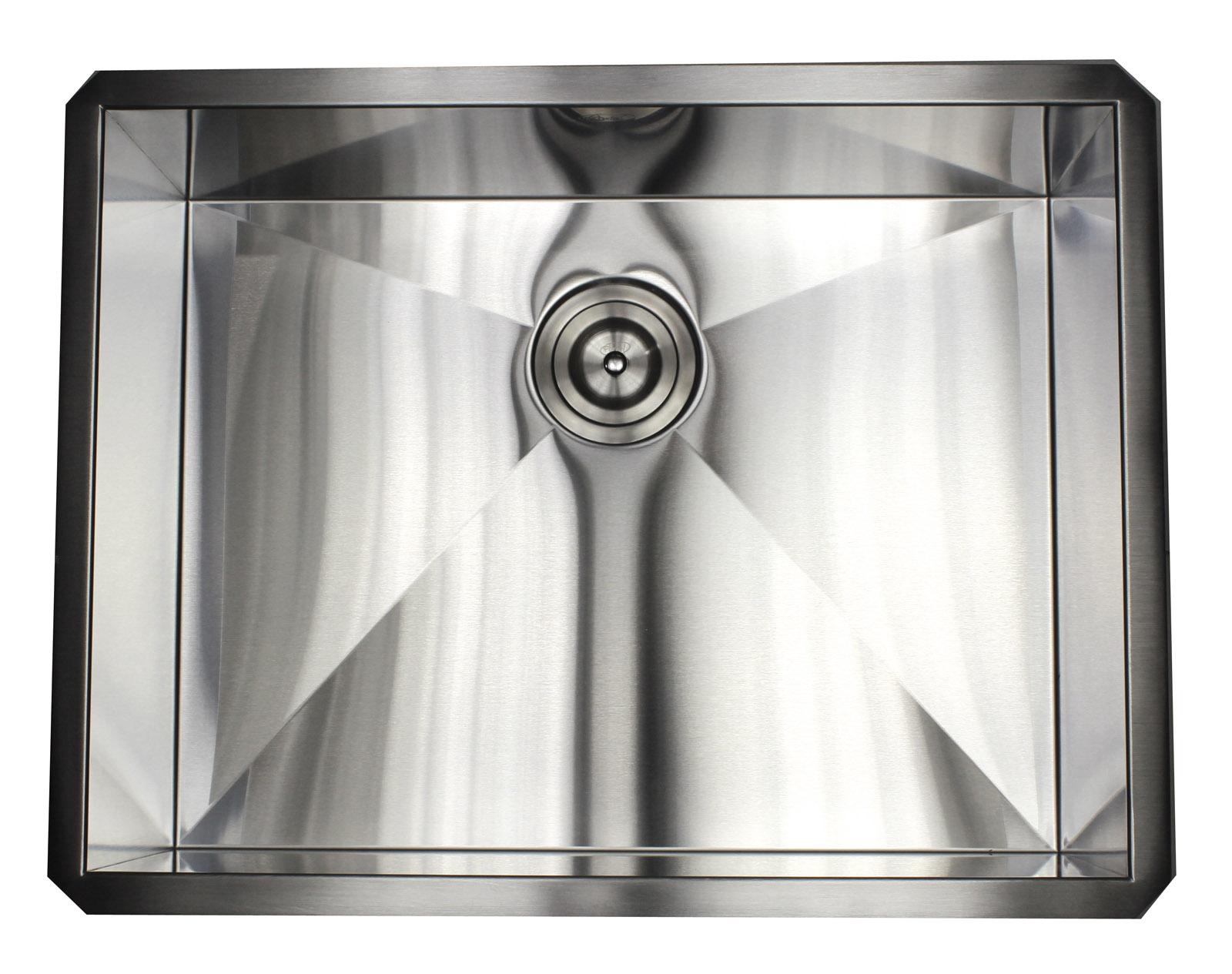 Ariel 26 Quot Zero Radius Single Bowl Stainless Steel Kitchen